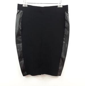 Torrid Black Ponte Faux Leather Pencil Skirt 0